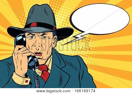 Surprised retro businessman talking on the phone. Pop art vector illustration