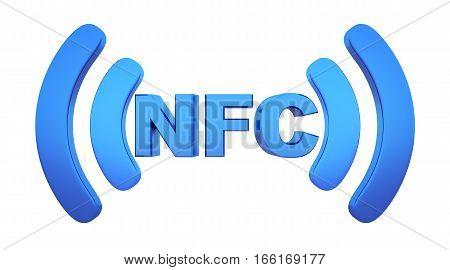 Symbol near field communication (NFC). 3d illustration