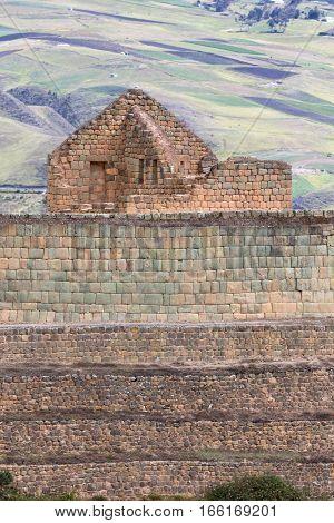 Ingapirca inka ruinsmain temple closeup in Ecuador