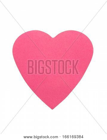 pink heart made of paper isolated on white background
