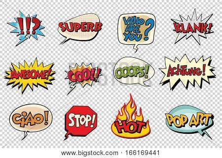 set comic book bubble stickers. Pop art retro vector illustration. Isolate on a neutral background