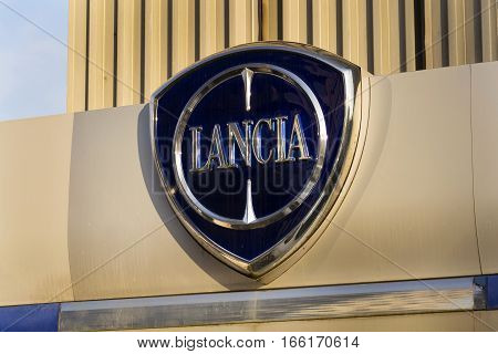 Prague, Czech Republic - January 20: Lancia Car Logo On Dealership Building On January 20, 2017 In P
