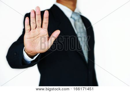 Businessman with suit and action hand sign for planning the job. Business concept with people and modern life in the city. Investment of trader in business market and successful in stock exchange.