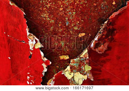 The red paint is peeling. . To use for the photo montage as an illustration, texturing.
