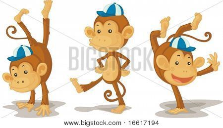 an illustration of three monkys dancing