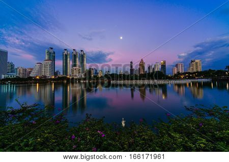 Night Cityscape Of Business Buildings Light From Bangkok Thailand