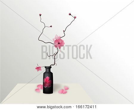 Ikebana. Composition. Figure Sakura flower. On a gradient background with a shadow. vector illustration