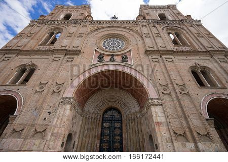 July 10, 2016 Cuenca, Ecuador: colonial architectural details of the nCathedral of the Immaculate Conception
