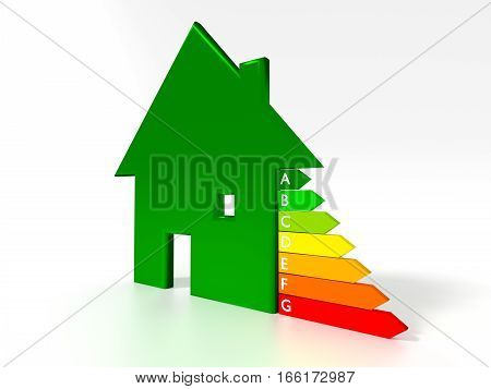 Green house symbol next to an energy efficiency graph save electricity concept 3D illustration