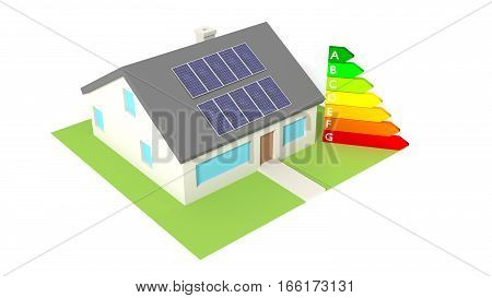 House with solar panels on the roof next to an energy efficiency graph save electricity concept 3D illustration