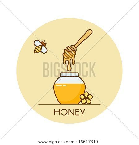 Vector illustration of jar with honey and wooden dipper.