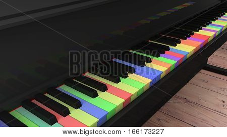 Piano with differently colored keys on wooden floor closeup 3D illustration