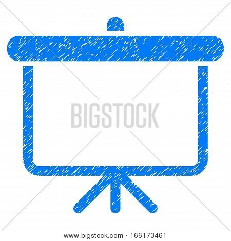 Projection Board grainy textured icon for overlay watermark stamps. Flat symbol with dust texture. Dotted vector blue ink rubber seal stamp with grunge design on a white background.