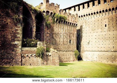 walls and foritifications of the castello sforzesco in milan.