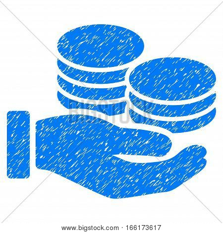 Salary Hand grainy textured icon for overlay watermark stamps. Flat symbol with dust texture. Dotted vector blue ink rubber seal stamp with grunge design on a white background.