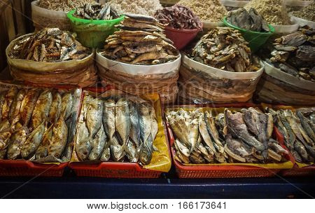 various kind of salted fish photo taken in Jakarta Indonesia java