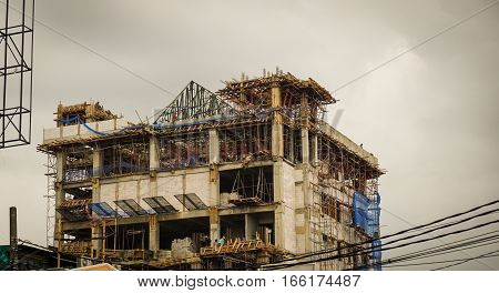 building construction with cloudy sky as background photo taken in jakarta Indonesia java