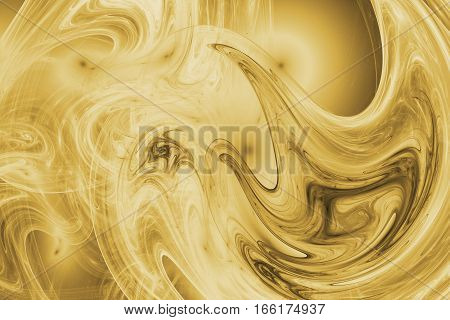 Abstract Yellow Swirly Shapes. Fantasy Fractal Background. Digital Art. 3D Rendering.