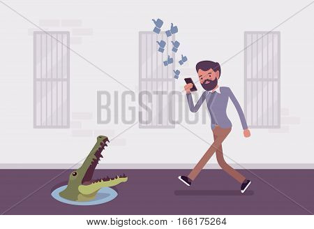 Young carefree man looking at the screen of his phone, walking across streets with eyes glued to mobile devices, distracted walking, unsafe and unalert, pit with crocodile in front