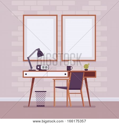 Retro interior with retro writing desk with drawers, bin, chair, alarm clock, wall frames for copyspace and mock up. Cartoon flat-style interior illustration