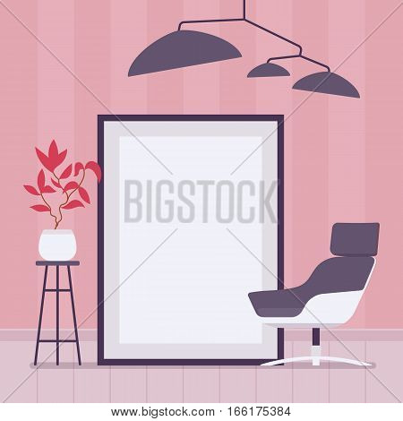 Retro interior with metal lampshade ceiling lamp light, armchair, tall metal plant stand, big floor frame for copyspace and mock up. Cartoon flat-style interior illustration