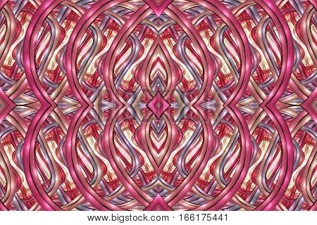 Abstract Intricate Symmetrical Ornament In Crimson, Faded Purple And Beige Colors. Seamless Fractal