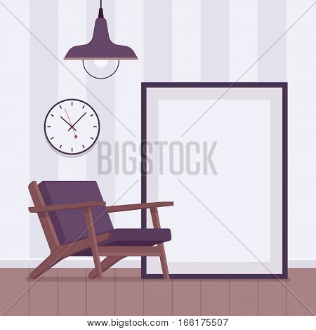 Retro interior in white with metal ceiling lamp light, armchair, cool modern elements, round wall clocks, big floor frame for copyspace and mock up. Cartoon flat-style interior illustration