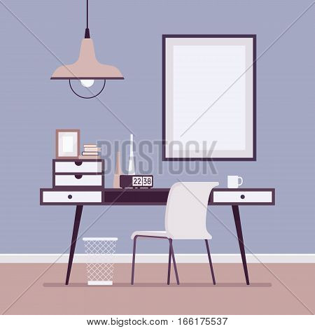 Retro interior with writing desk, bin, chair, alarm clock, metal lamp, bohemian home office, best setting for a writer, wall frame for copyspace and mock up. Cartoon flat-style interior illustration