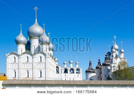 ROSTOV RUSSIA - MAY 3 2016: Assumption Cathedral in Kremlin of Rostov Yaroslavl oblast Russia. Golden Ring of Russia