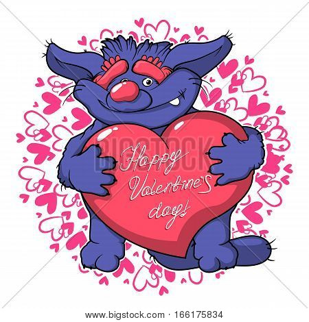Cute cartoon monster in love holding a pink heart romantic congratulation postcard for Saint Valentine's Day