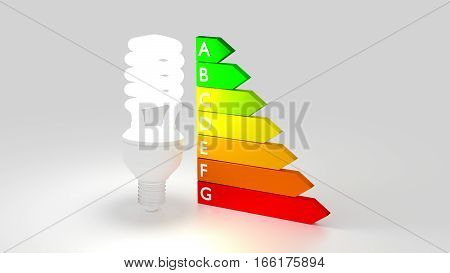 Glowing light bulb next to an energy efficiency graph save electricity concept 3D illustration