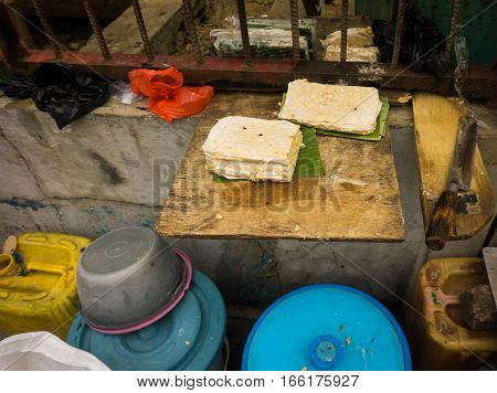 Sliced tempeh sold in traditional market photo taken in Jakarta Indonesia java