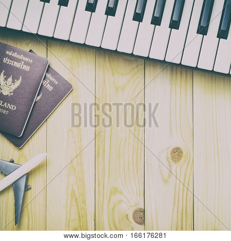 Music Band Travel world tour concept background.