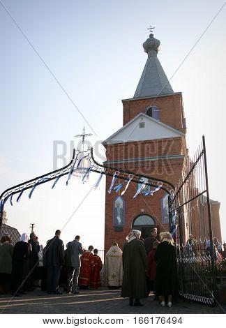 LUTSK UKRAINE - 14 OCTOBER 2008: Slavonic Religious celebration Pokrov in new ukrainian orthodox church