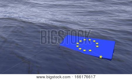 European flag drowning in the ocean with one yellow star slipping away brexit crisis concept 3D illustration