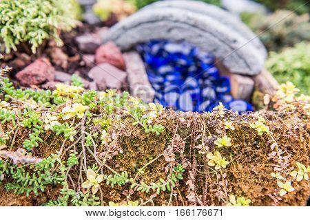 Macro closeup of miniature garden with moss grass stone bridge and blue glass rocks