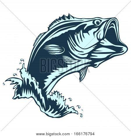 Bass fish logo. Perch fishing vector illustration.