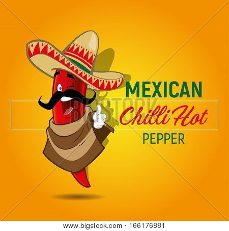 Mexican Chilli Red Hot Pepper makes okey on Yellow Background
