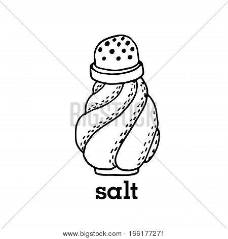 Vector salt shaker kitchen equipment hand drawn illustration