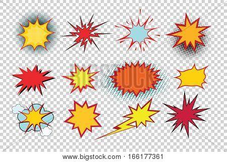 Cartoon explosion pop art kit isolate. Comic illustration pop art retro style