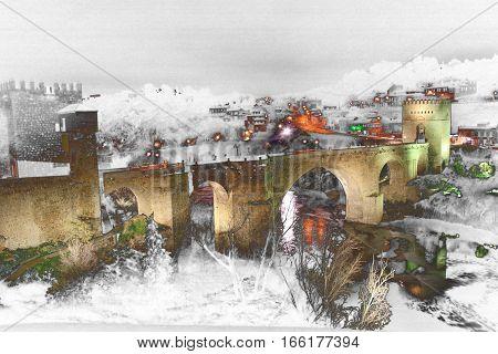 geometric composition of nocturnal landscapes of Toledo in San Martin bridge, surrealistic composition