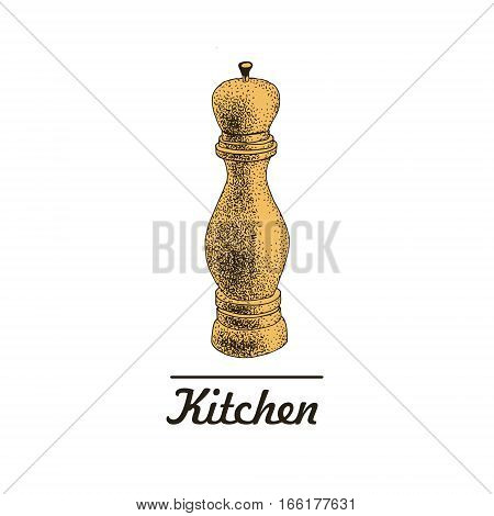 vector hand drawn pepper mill illustration, Vintage