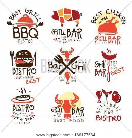 Best Grill Bar Promo Signs Set Of Colorful Vector Design Templates With Food Silhouettes. Meat Gastronomy Restaurant Labels In Flat Bright Illustrations With Text.