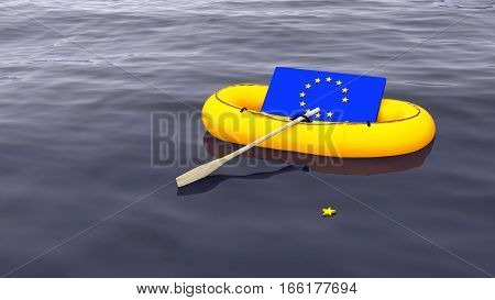 European flag swimming in a yellow rubber boat alone on the ocean with one star drifting away brexit concept 3D illustration