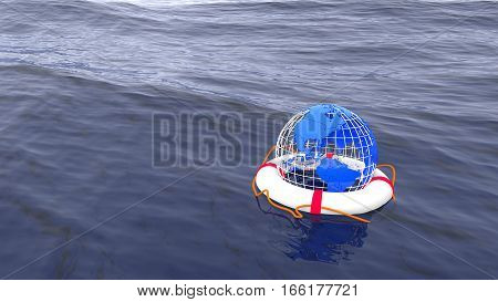 Globe swimming in a life buoy on the ocean save the planet environmental concept 3D illustration