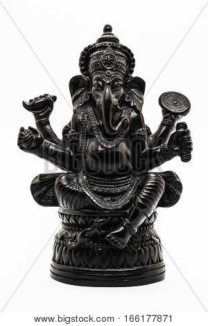 Ganesha, Hindu Cult image, Black sculpture on the white background.