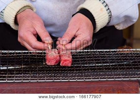 Close up of japan A5 beef called Hida wagyu grilled on the oven in takayama Gifu Japan.