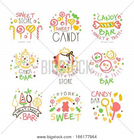 Candy Shop Promo Signs Set Of Colorful Vector Design Templates With Sweets And Pastry Silhouettes. Sweet Bar For Kids Labels In Flat Bright Illustrations With Text.