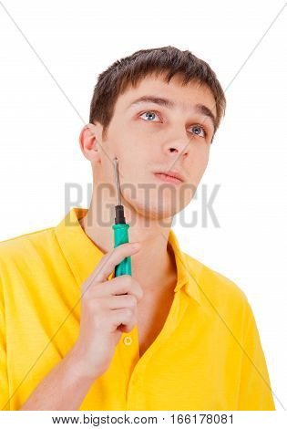 Pensive Teenager with Screwdriver Isolated on the White Background