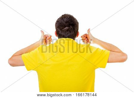 Rear View of the Man with Thumb Up Isolated on the White Background